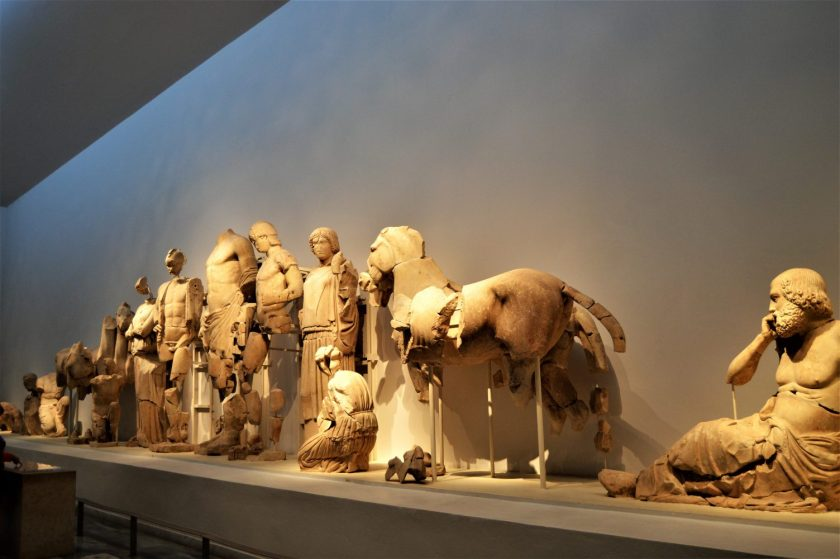 Sculptures from the east pediment of Temple of Zeus at Olympia, Greece