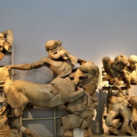 Sculptures on the west pediment of Temple of Zeus portraying the fight between the Centaurs and Lapiths
