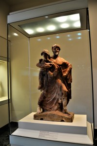 Statue of Zeus holding Ganymede on display at the Olympia Archaeological Museum