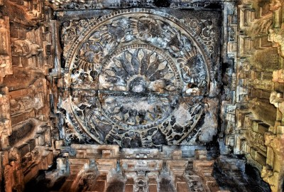 Matsya Chakra (Fish Wheel) carved into the the ceiling of the mukhamantapa of the Durga Temple at Aihole, Karnataka, India