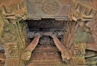 Interior of the mukhamantapa (porch) of the Durga Temple at Aihole in Karnataka, India