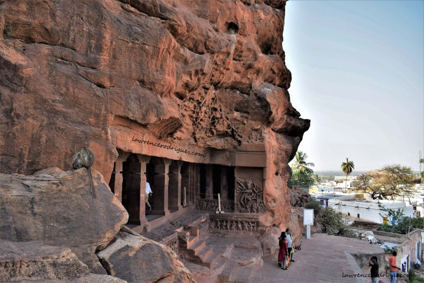 Entrance to Cave - 1, the first of the four of rock-cut caves of Badami, Karnataka, India