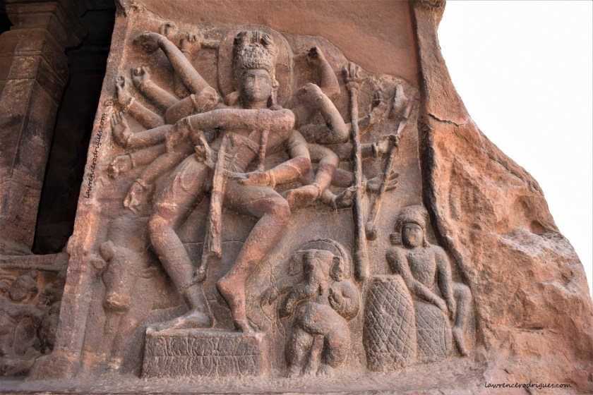 Shiva portrayed as Nataraja carved on the right side of Cave - 1, the first of the four of rock-cut caves of Badami, Karnataka, India