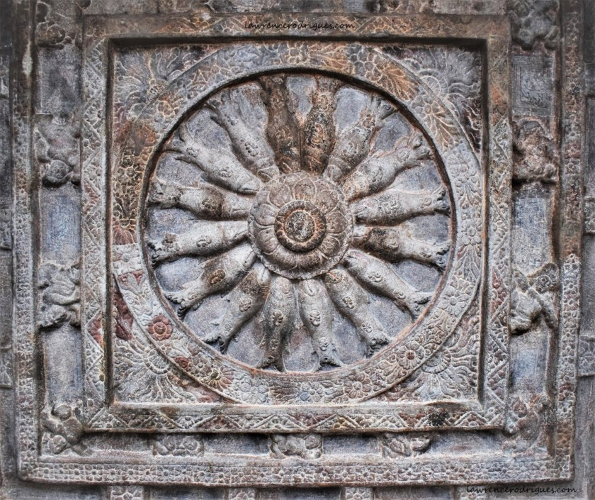 Matsya Chakra - A wheel with fish spokes on the ceiling of Cave - 2 located on a soft sandstone hill near Badami in Karnataka, India.