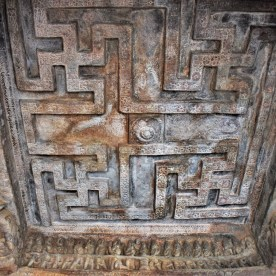 Swastika patterns and the Samudra Manthana frieze carved on the celing of Cave - 2 located at Badami in Karnataka, India
