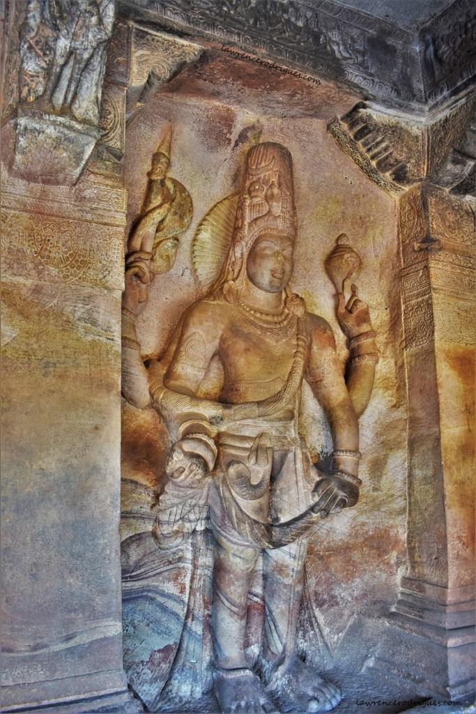 Sculptural relief depicting Harihara carved in Cave - 3 of the Badami caves in Karnataka, India
