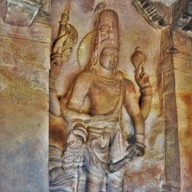 Sculptural relief depicting Harihara carved in Cave - 3 of the Badami caves in Karnataka, India