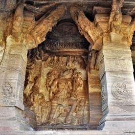Sculptural relief depicting the story of Varahavatara carved in Cave - 3 of the Badami Caves in Karnataka, India
