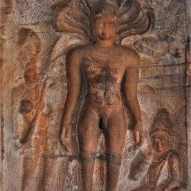 Sculptural relief of Pārshvanātha, the 23rd Tirthankara carved in Cave - 4 of Badami Caves located in Karnataka, India
