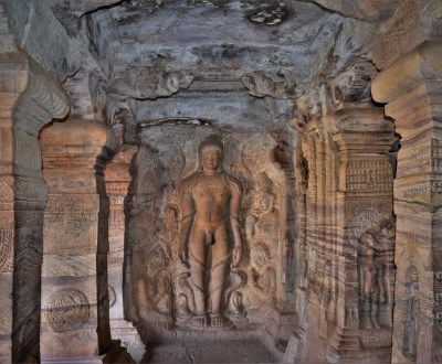 Sculptural relief of Bahubali in Cave - 4, the fourth of the rock-cut caves located in Badami, Karnataka, India