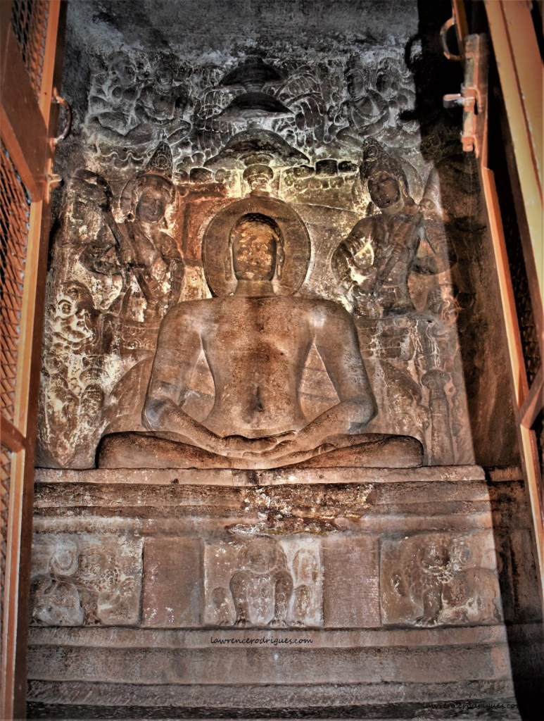 Sculptural relief of 24th Tirthankara - Mahāvira in the Garbhagriha of Cave - 4 in Badami, Karnataka, India