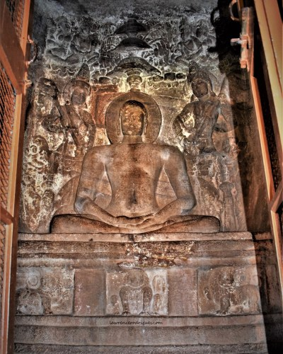 Sculptural relief of 24th Tirthankara - Mahavira in the Garbhagriha of Cave - 4 in Badami, Karnataka, India
