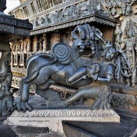 Hoysala emblem on the left side of the main entrance of the Chennakeshava Temple in Belur, Karnataka, India