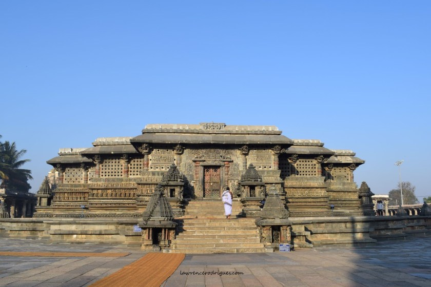 A view of the Belur Chennakeshava Temple at opening time