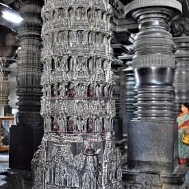 Narasimha Pillar inside the Navaranga of the Chennakeshava Temple in Belur, Karnataka, India
