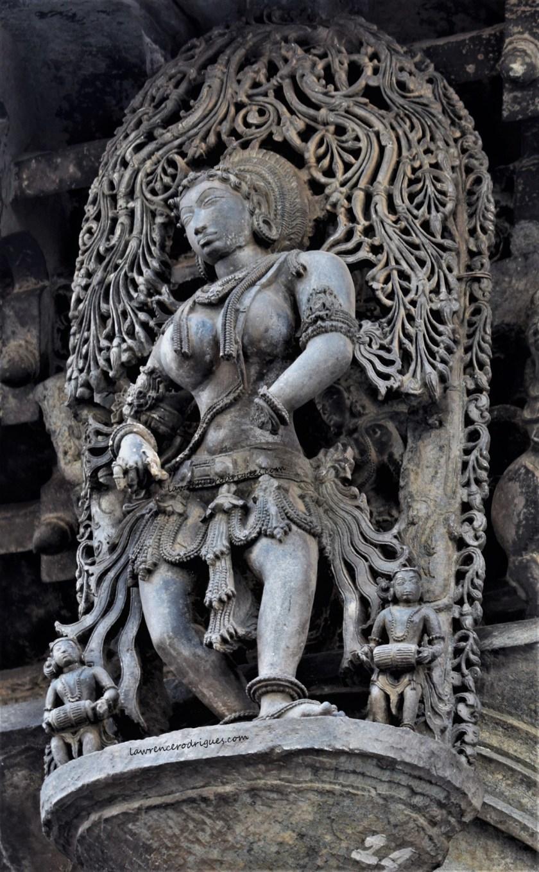 Naatya Sundari - Madanike with a traditional dancing stance - A bracket figure mounterd on the exterior wall of the Belur Chennakeshava Temple in Karnataka, India