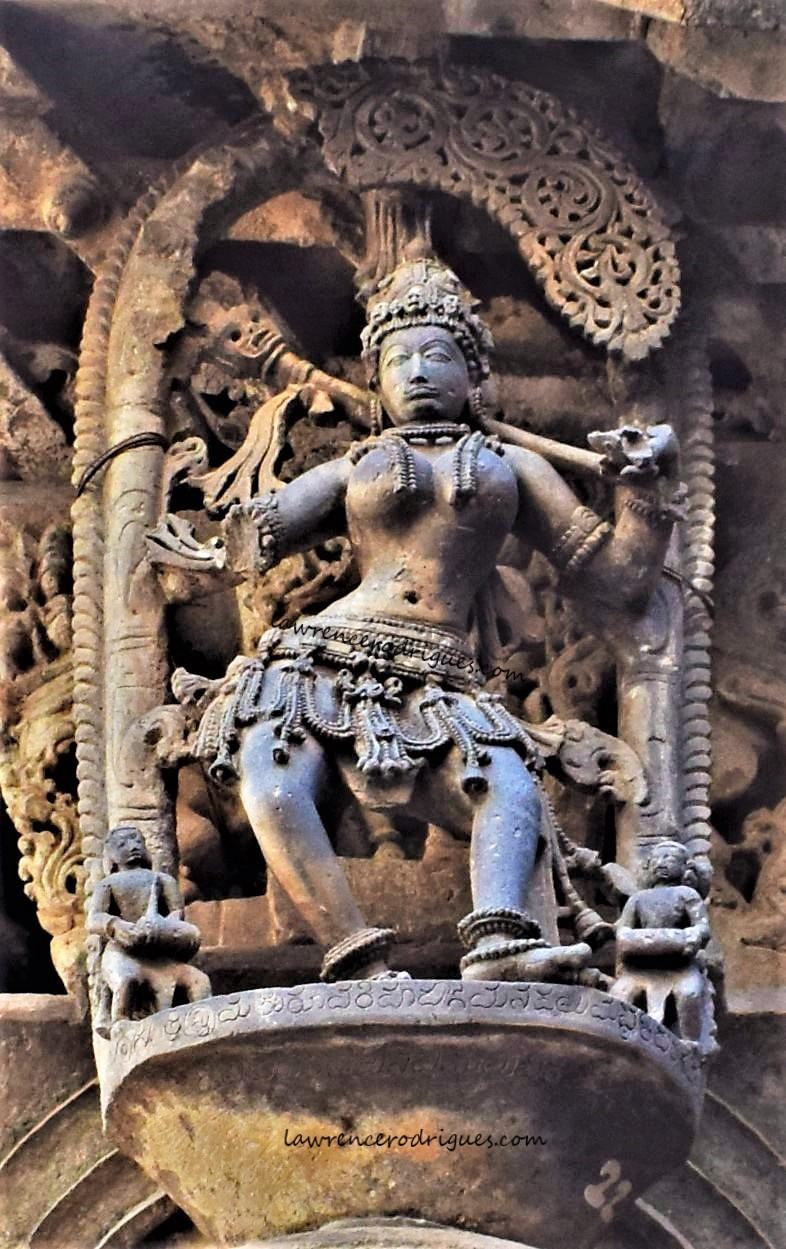 Goddess Durga - A bracket figure mounterd on the exterior wall of the Belur Chennakeshava Temple in Karnataka, India
