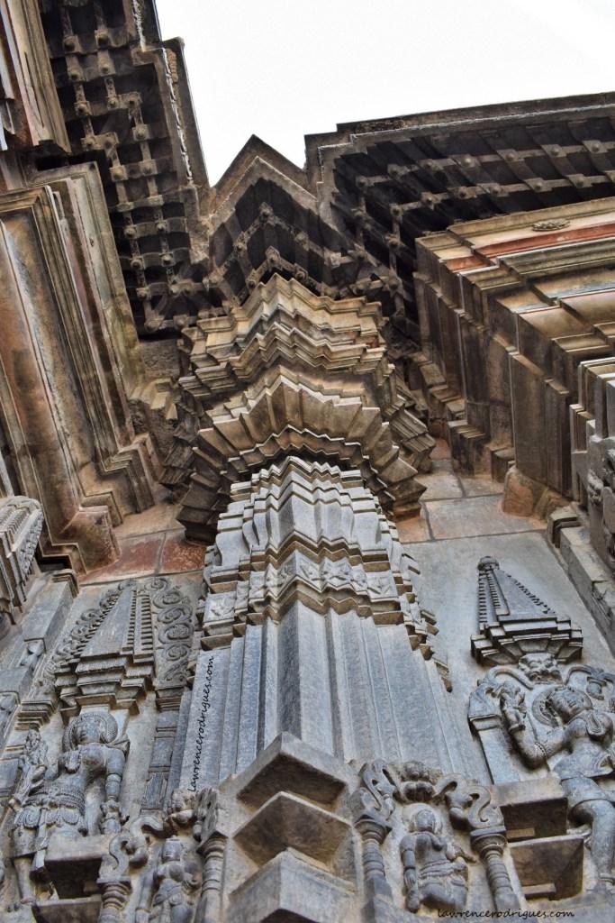 Massive corner pillar at the junction of the Navaranga and garbhagriha (inner sanctum) of the Belur Chennakeshava Temple in Karnataka, India