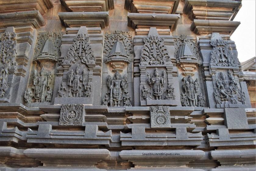 Sculptural reliefs of Vishnu carved on the south-side exterior wall surrounding the garbagriha (sanctum sanctorum) of the Belur Chennakeshava Temple in Karnataka, India