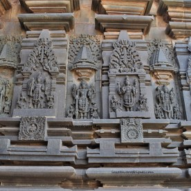 Sculptural reliefs of Vishnu carved on the south-side exterior wall surrounding the garbagriha (sanctum sanctorum) of the Belur Chennakeshava Temple in Karnataka, India