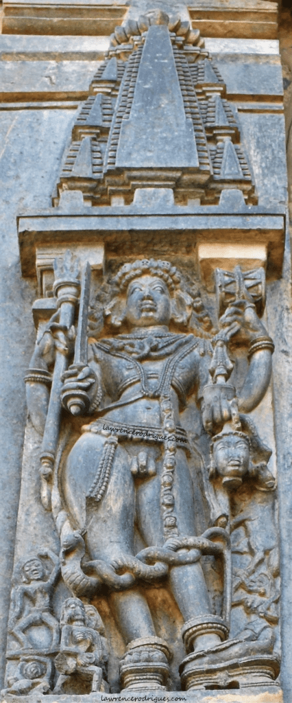 Bhairava carved on the south exterior wall of the Belur Chennakeshava Temple in Karnataka, India