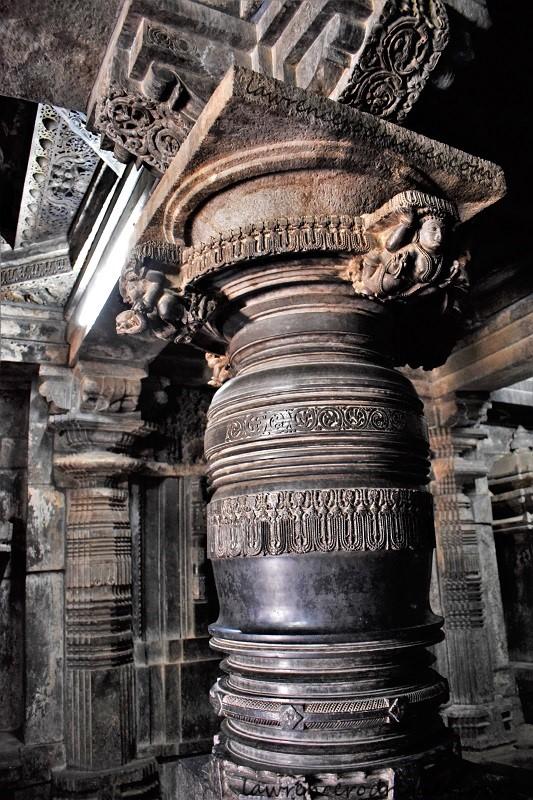 Pillars in the Kappe Chennigaraya Temple situated inside the Belur Chennakeshava Temple complex in Karnataka, India