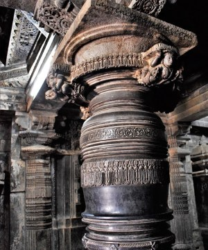 Pillars in the Kappe Chennigaraya Temple situated inside the Belur Chennakeshava Temple complex in Karnataka, India