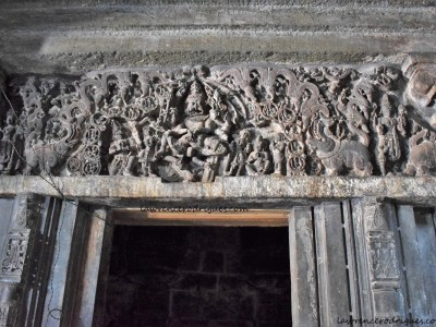 Ugra Narasimha carved on the door of the Kappe Chennigaraya Temple situated inside the Belur Chennakeshava Temple complex in Karnataka, India