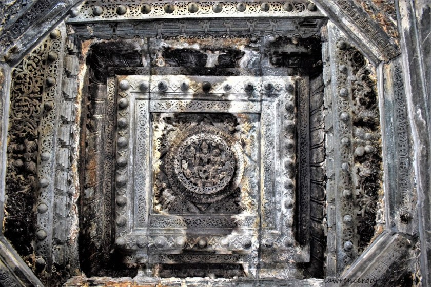 Lakshminarayana carved on the ceiling of the Kappe Chennigaraya Temple situated inside the Belur Chennakeshava Temple complex in Karnataka, India