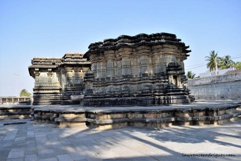 Outer wall around the west garbhagriha of the Kappe Chennigaraya Temple sitaued inside the Belur Chennakeshava Temple complex in Karnataka, India