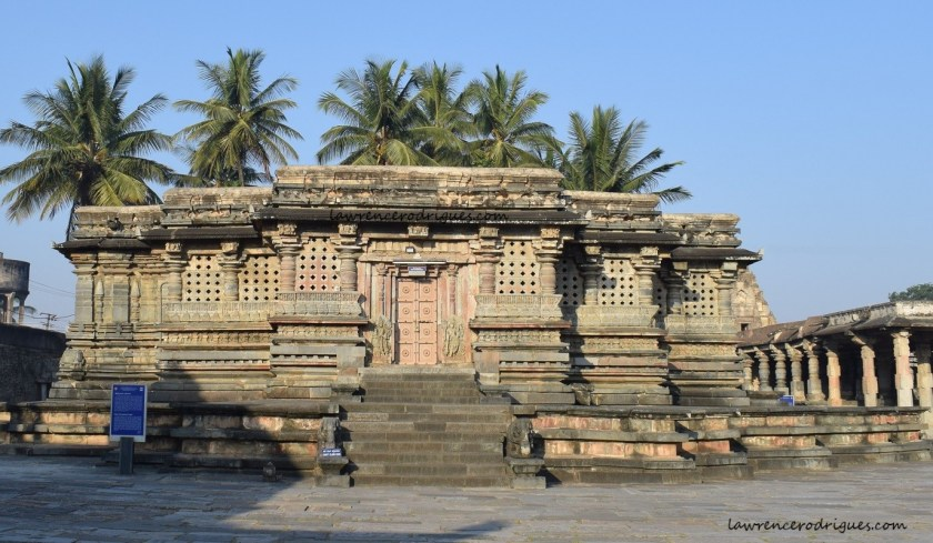 East facade of the Kappe Chennigaraya Temple situated inside the Belur Chennakeshava Temple complex in Karnataka, India