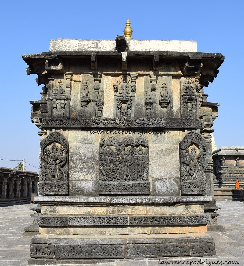 Rear facade of the Ranganayaki Shrine situated northwest of the Belur Chennakeshava Temple complex in Karnataka, India