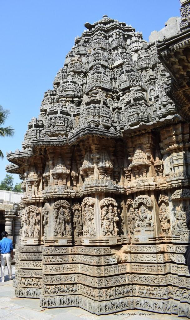 Outer wall surrounding north garbhagriha of the Somanathapura Keshava Temple in Kranataka, India