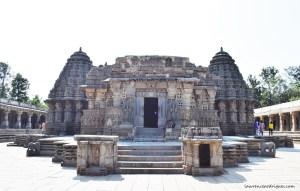 Facade and Entrance of the Keshava Temple located at Somanathapura in Karnataka, India.