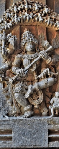 Sarasvati, the goddess of knowledge and learning, carved on the outer wall of the Somanathapura Keshava Temple in Karnataka, India