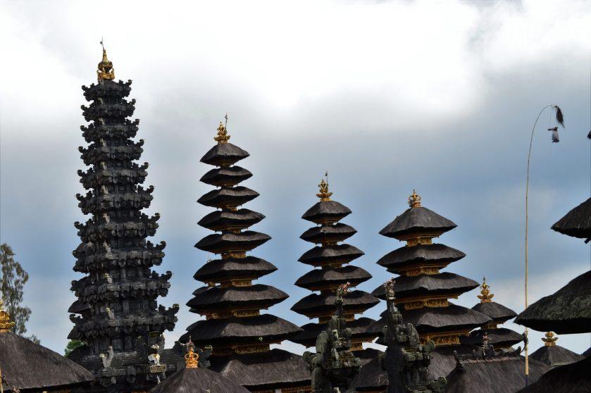 Pagodas of Besakih Temple in Bali, Indonesia
