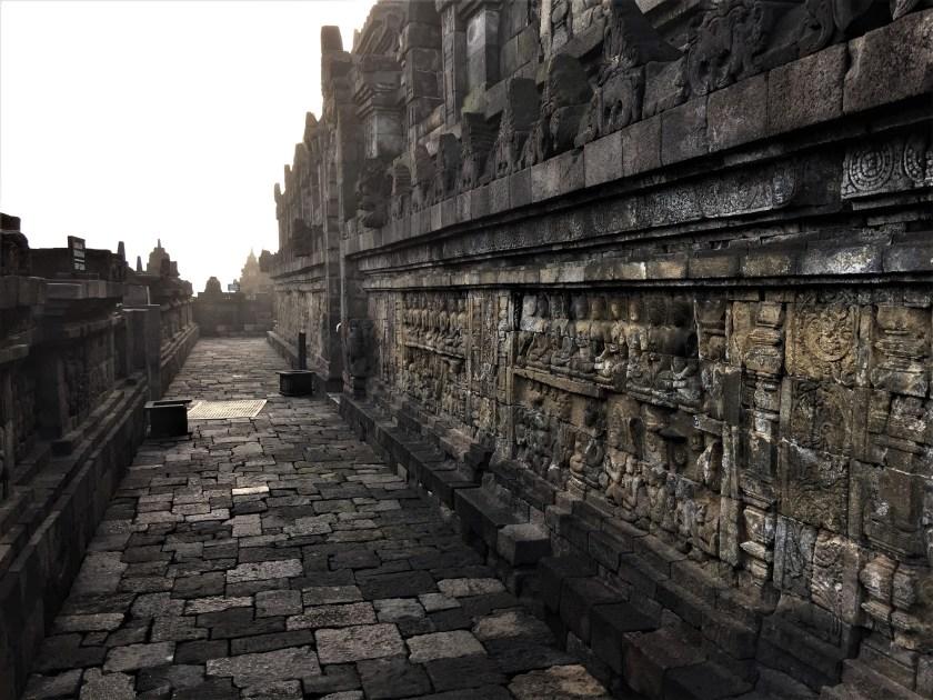 A corridor on the Rupadhatu layer of the Borobudur Temple in Yogyakarta, Indonesia