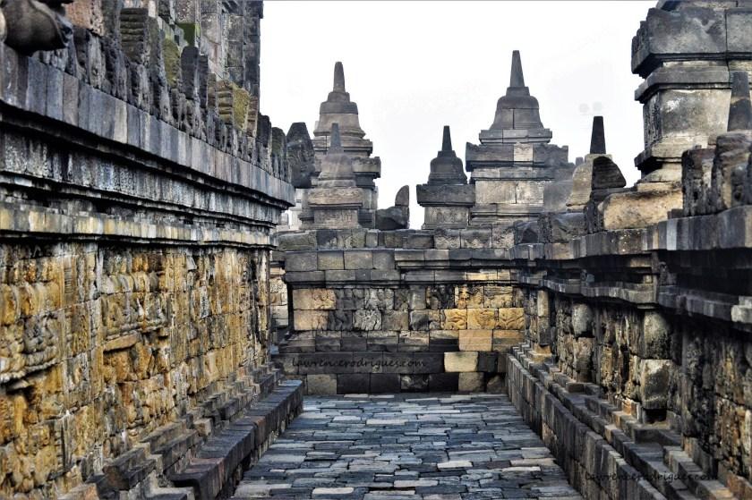 A corridor on the Rupadatu layer of the Borbudur Temple in Yogyakarta, Indonesia