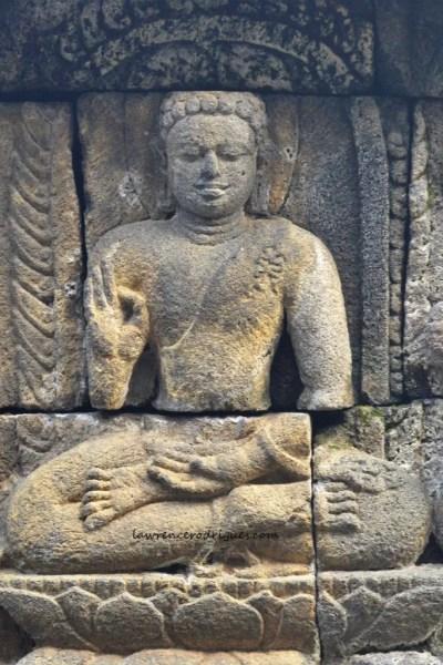 Buddha with the Vitaraka Mudra Gesture - Bas-relief on the Rupadatu layer in Borobudur, Indinesia