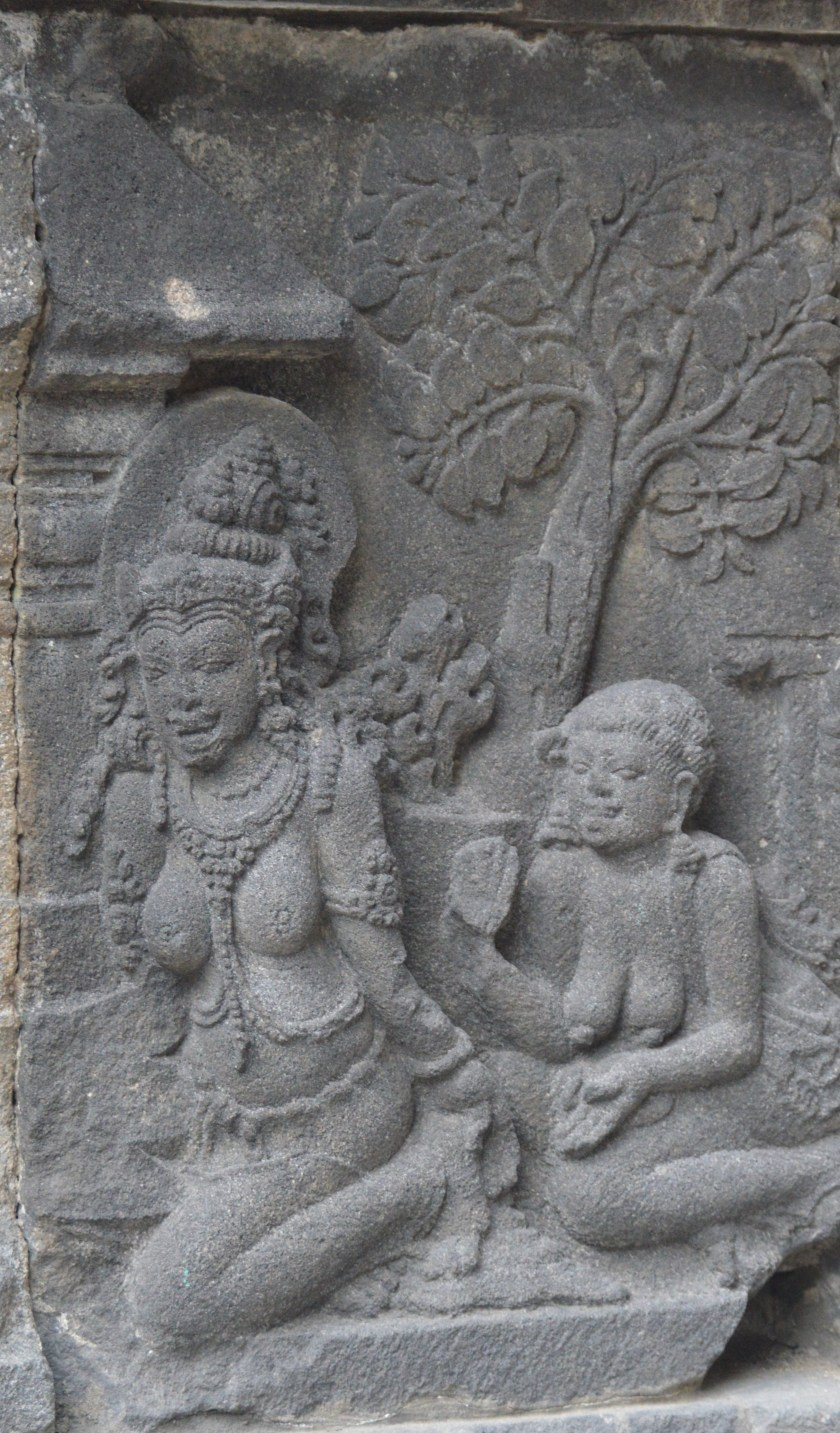 A section of the Ramayana story bas-relief carved in the Shiva Temple