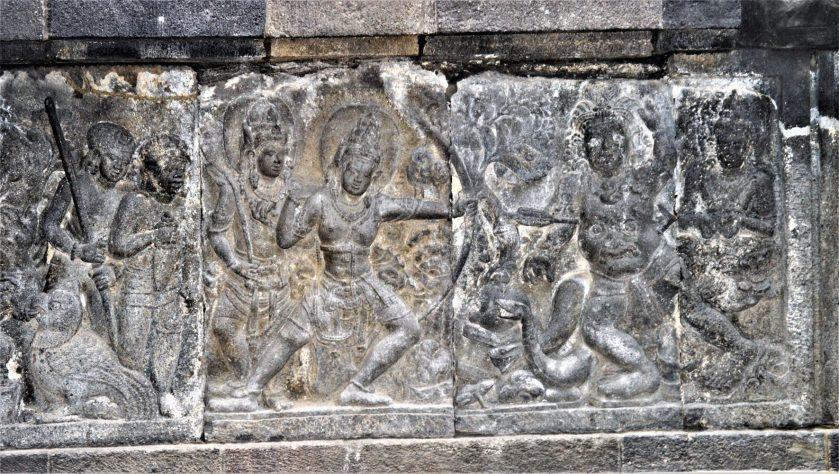Rama killing Kabandha - A Ramayana bas-relief carved in the Shiva Temple at Prambanan, Yogyakarta, Indonesia
