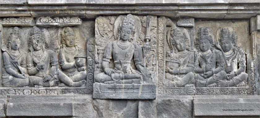 Bas-relief of Lokapala with the Bhumisparsha Mudra (Hand Gesture) in the Shiva Temple in Prambanan, Yogyakarta