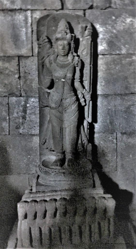Statue of Chandra Dewa (Moon God) standing in the inner chamber of the Nandi Temple in Prambanan, Yogyakarta