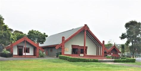 Carved Meeting House (Te Aronui-a-Rua) in Te Puia situated in Roturoa, New Zealand