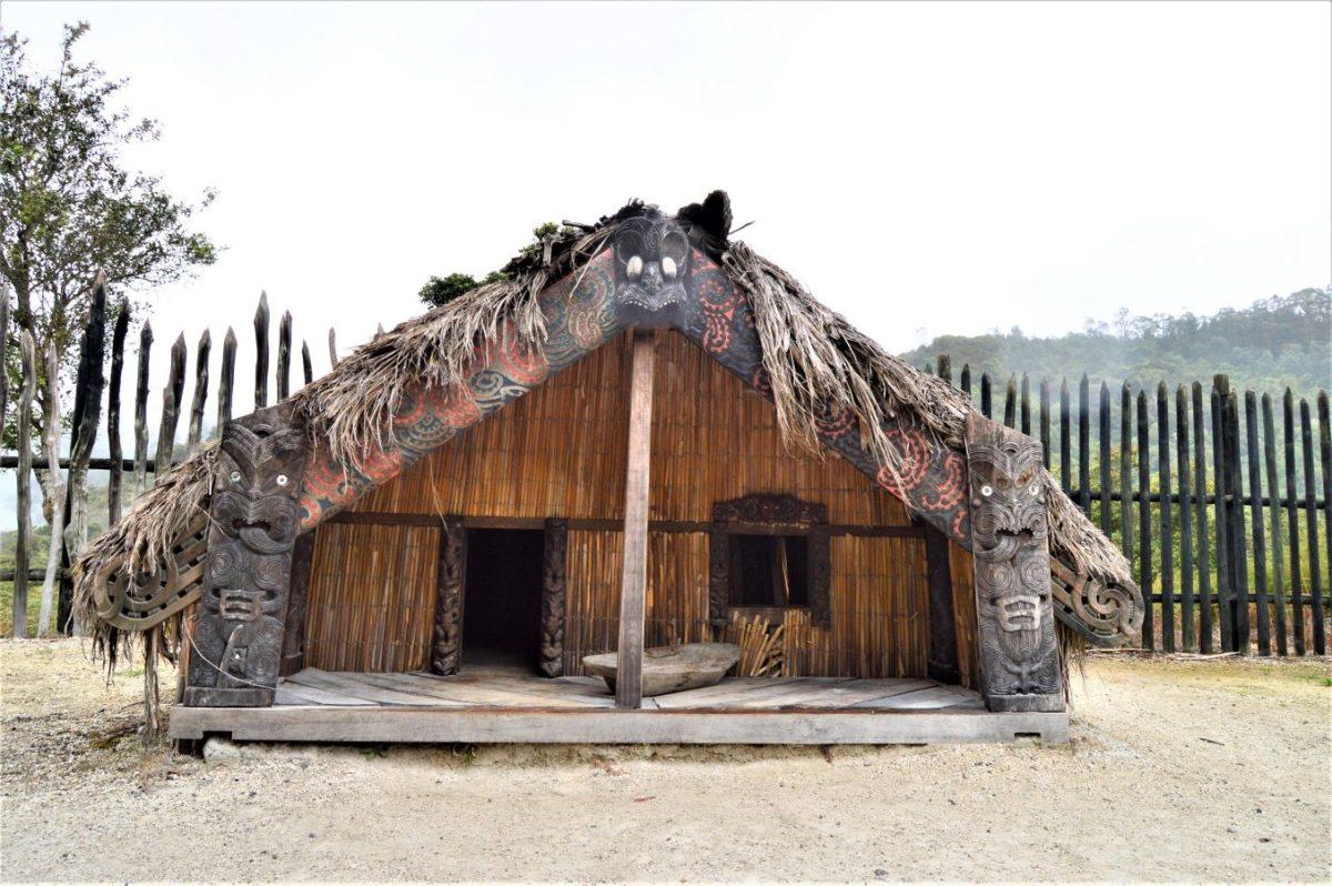 Maori House in Te Puia, Roturoa, New Zealand