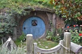A Blue Hobbit Hole in the Hobbiton Movie Set in Matamata, New Zealand