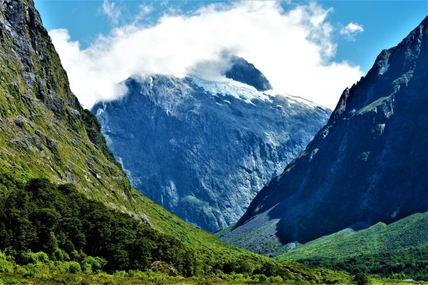 Mountain with melting ice at the Fiordland National Park in the South Island of New Zealand