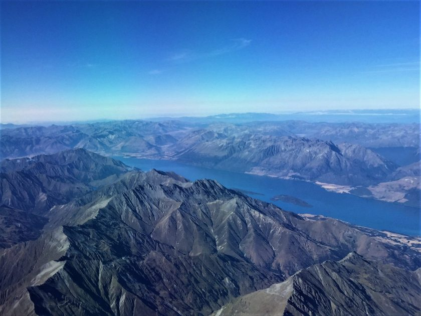 Arial view of Lake Wakatipu in the South Island of New Zealand