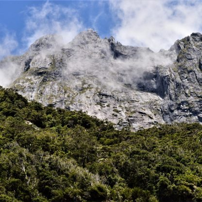 A mountain near Copper Point in Milford Sound, New Zealand