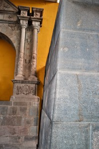 Spanish and Inca structures side by side